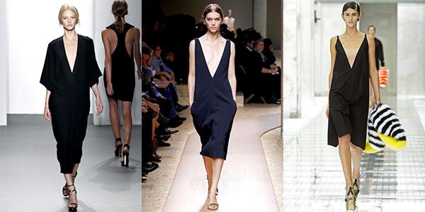 Imagem: looks minimalistas das marcas Calvin Klein, Céline e Prada