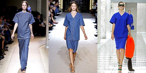Imagem: looks desfilados por Céline, Stella McCartney e Prada, apresentando a tendência de uniformes
