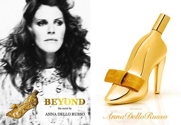 Anúncio com foto do perfume lançado por Anna dello Russo em forma de sapatinho dourado